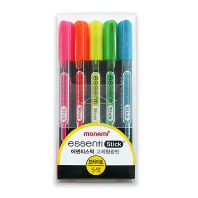 모나미 ESSENTI Stick 고체형광펜 (Bright) - 5색 세트