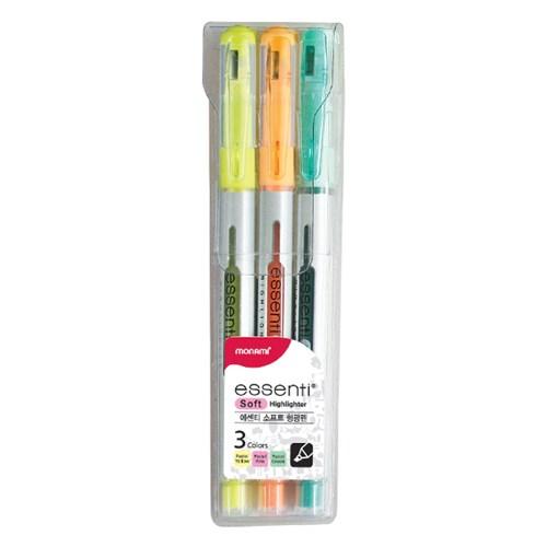 모나미 ESSENTI 형광펜 (Soft) - 3색 세트
