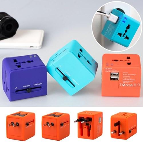 인트래블 USB트래블아답터-큐브 듀얼포트 NO.0454