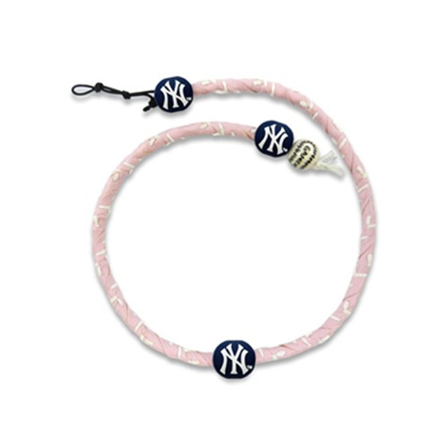 New York Yankees Pink Leather Frozen Rope Baseball Necklace