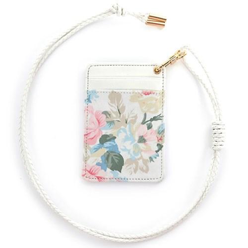 NATURAL FLORAL CARD HOLDER (WHITE)