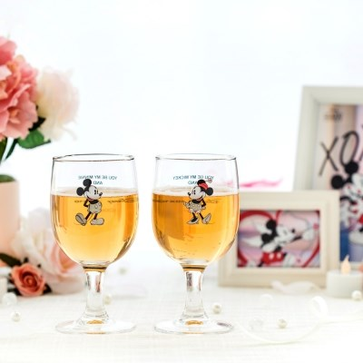 [Disney]Mickey&Minnie_White gold glass