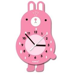 [퍼니즈]어썸프렌즈(토끼)/움직이는 추시계/12종/무소음벽시계