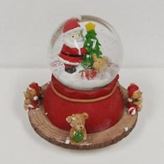 산타와 눈사람 전자 회전 오르골