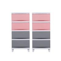 FRANCO 서랍장33(4단)2개세트 핑크믹스