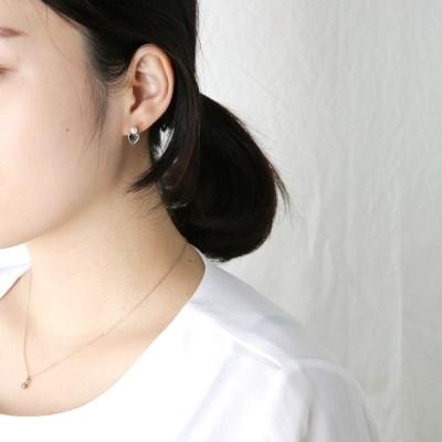 하트 그린 큐빅 귀걸이