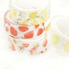 후르츠 마스킹테이프 - 복숭아,라임,레몬,딸기