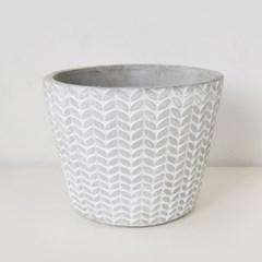 나뭇잎 패턴 시멘트 다육 화분