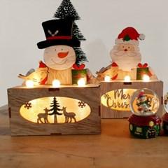산타와 눈사람 트리장식 우드조명
