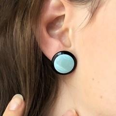 black border earrings (SKY CIRCLE)