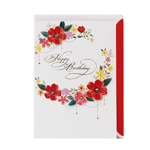 붉은 꽃 화관 생일축하카드 / 025-SG-0071