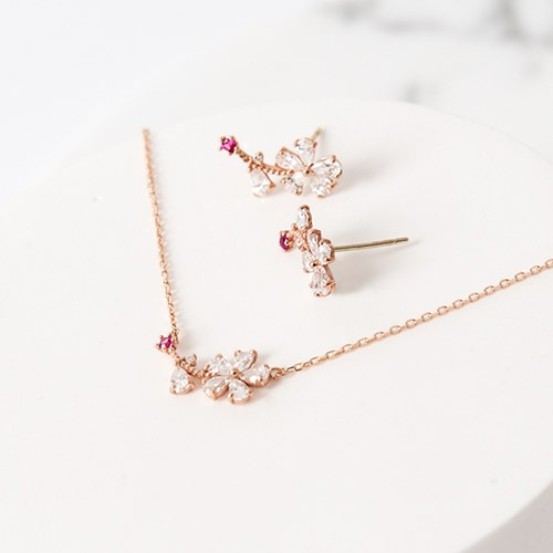 14K/18K 데일리 벚꽃 목걸이&귀걸이 세트_Premium Edition