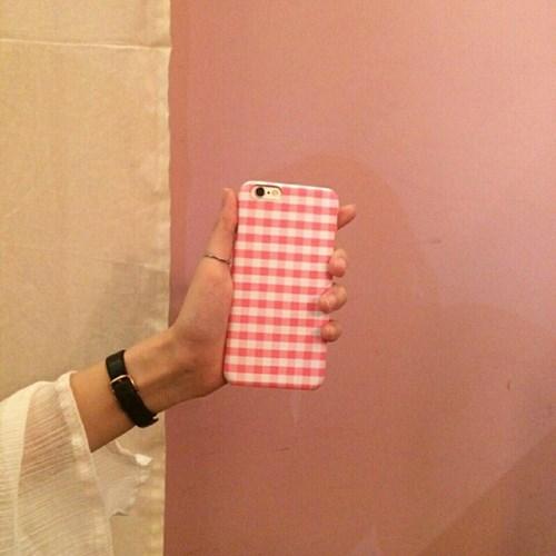 깅엄체크 핑크