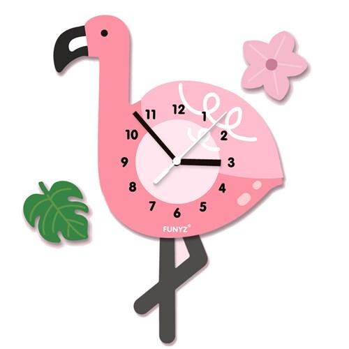 [퍼니즈]어썸프렌즈(플라밍고)/움직이는 추시계/12종/무소음벽시계