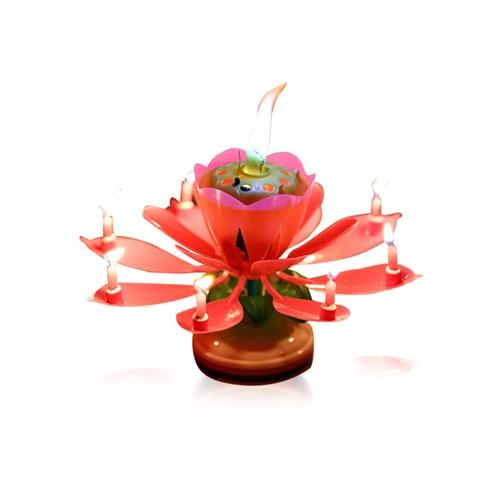 연꽃초 회전하는 멜로디 촛불 스마일촛불 생일파티