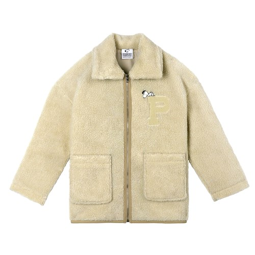 [FW18 Peanuts] Snoopy Boa Short Jacket(Beige)_(640749)