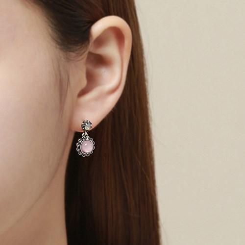 핑크 빈티지 드롭 귀걸이