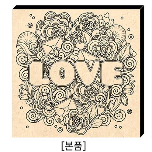 컬러링 우드캔버스_러브레터(14인치)/사인펜10색증정/힐링/태교/취미
