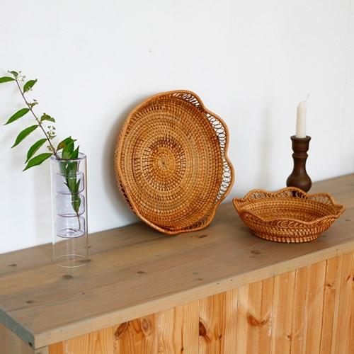 꽃모양 라탄 바스켓 (2종택1)