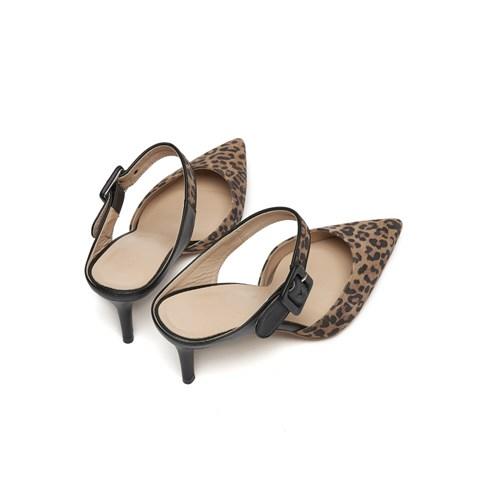 Buckle stileto mule (leopard)