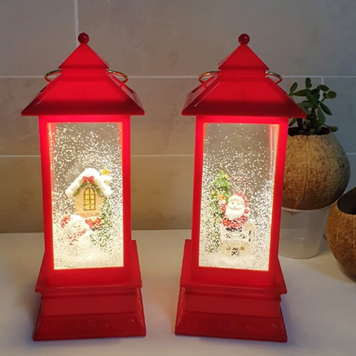 산타와 눈사람 LED 사각 워터볼