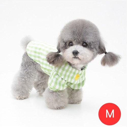 체크노랑오리 강아지 셔츠 모자미포함 그린 M