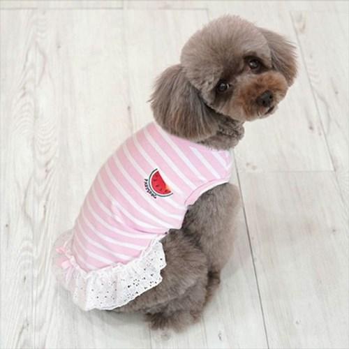 패리스독 코튼레이스 원피스 핑크 애견옷 강아지옷