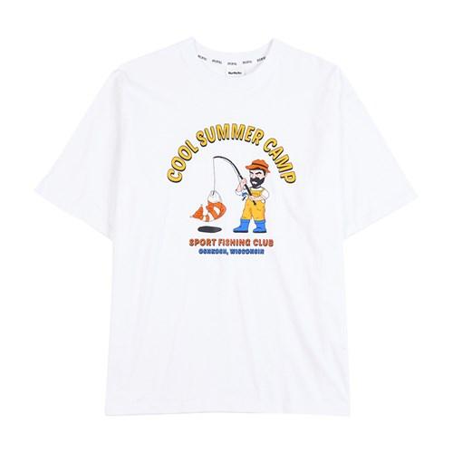피싱클럽 오버핏 반팔티셔츠 - 화이트